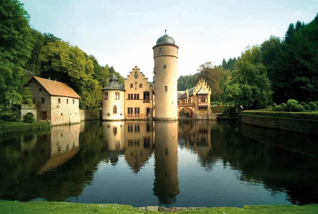 Ansicht des Wasserschloßes der Gräfin Ingelheim in Mespelbrunn, ©Schlossverwaltung Mespelbrunn