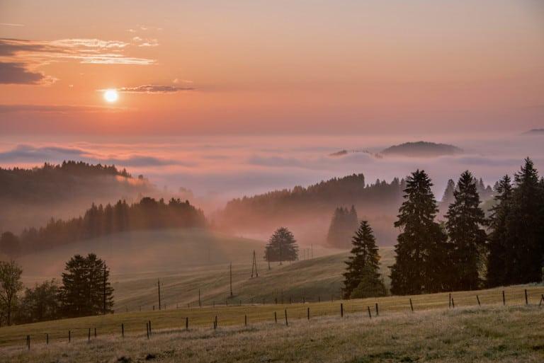 Sich mal wieder ganz bewusst Zeit dafür nehmen, sich einen Sonnenaufgang anzuschauen und abzuschalten – das tut man viel zu selten. Im Südlichen Allgäu wird man mit wunderschönen Ausblicken belohnt. (Foto: HLC/Tourismusgemeinschaft Südliches Allgäu GbR/Christian Greither)